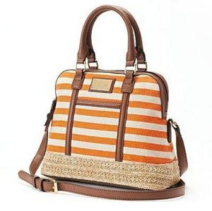 NWOT~Danna Buchman Striped Orange Crossbody Bag